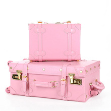 New Fashion!Lovely girl pu leather travel luggage set,full pink retro trolley for female,wonderful gift wife