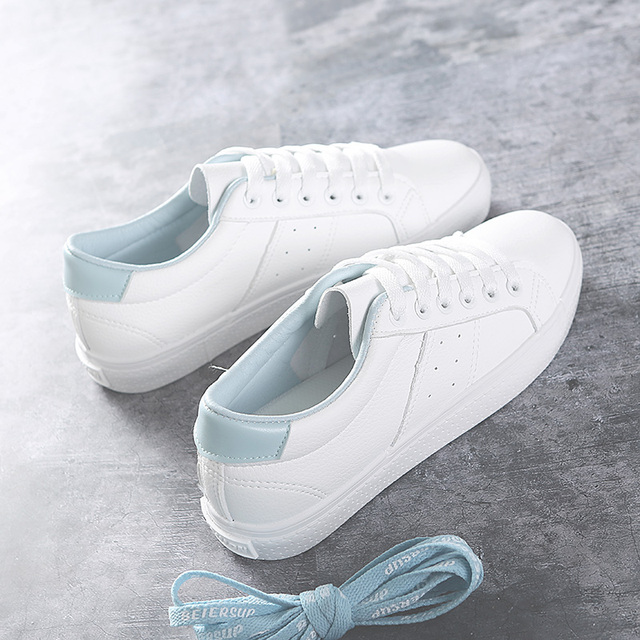 f26e1575063 US $23.85 30% OFF|2018 New Chic Women's Shoes Spring Female White Sneakers  Leather Breathable Lace Up Mixed Colors Preppy Style High Quality 35 39-in  ...