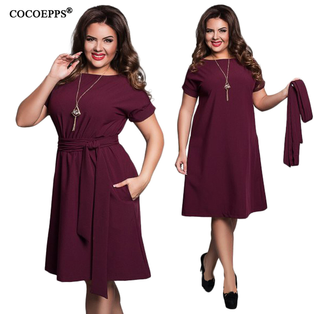 Cocoepps 2017 Summer Vintage 5xl 6xl Women Plus Size Dresses Elegant