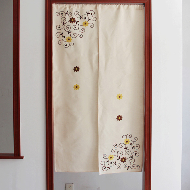 8d356b823245 ZHH Japanese-style Curtain off Korean Finished Door Curtain Cotton Cloth  Embroidered Floral Heavy Curtain Free Shipping