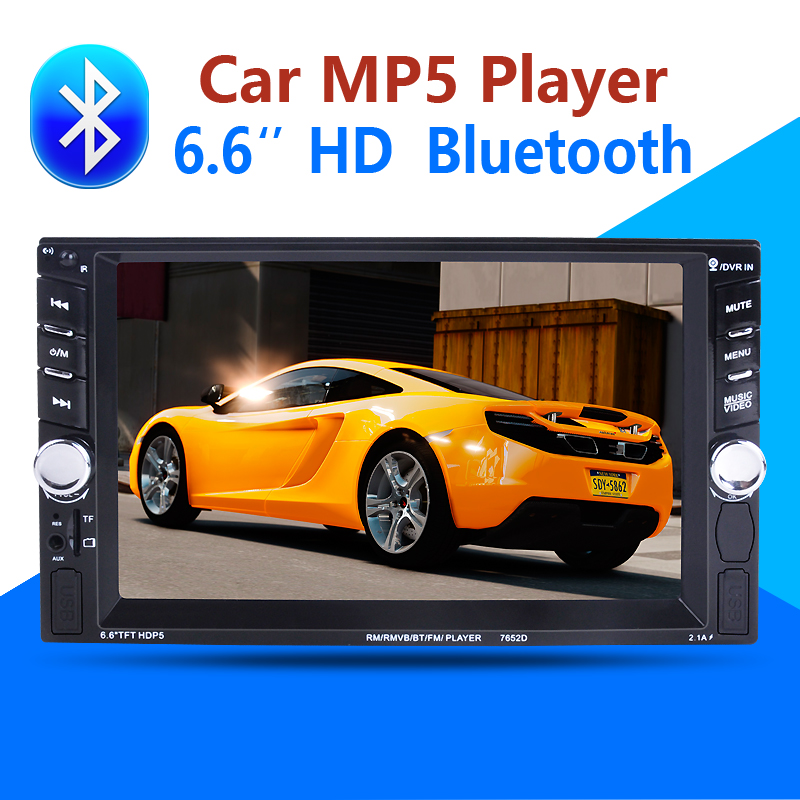2 Din Car Multimedia Player 6.6 HD Bluetooth Stereo Radio FM MP3 MP5 Video Audio USB Auto Electronics autoradio steering-wheel