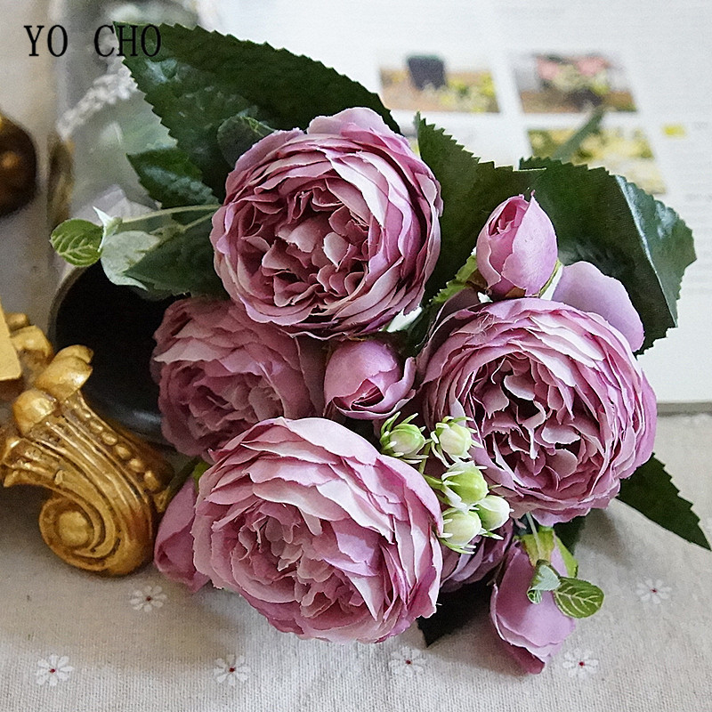 YO CHO Bridal Rose Wedding Bouquet Bridesmaid Peony Bouquet Artificial Silk Flower Arrangement Home Party Decor Wedding Supplies