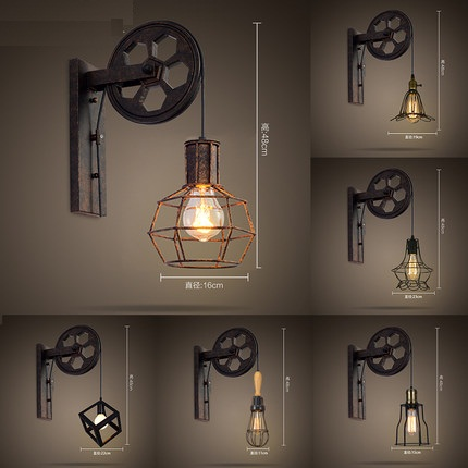 Loft Style Edison Wall Sconce Creative Lifting Pulley Vintage Wall Lamp For  Home Antique Wall Lights
