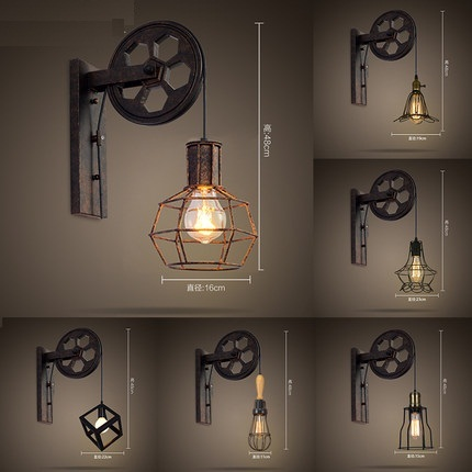 Loft Style Edison Wall Sconce Creative Lifting Pulley Vintage Lamp For Home Antique Lights