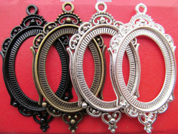 50pcs Antique Silver/Antique Bronze Oval Base Setting Tray Bezel Pendant Charm,Hollow Tray,fit 30mmx40mm Cabochon/Cameo