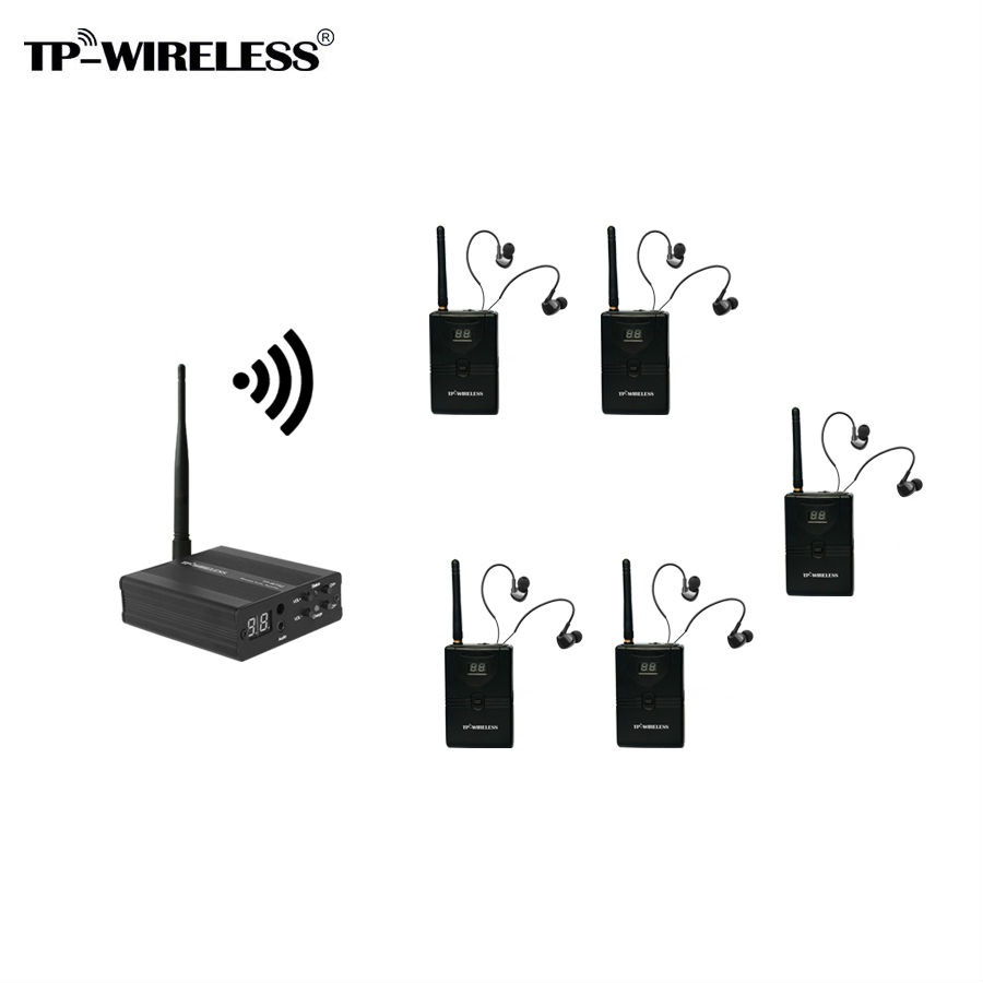 TP-WIRELESS 5 Receivers Wireless Monitor System In-Ear Stereo Wireless Stage Monitor System Portable In Ear Monitor 2 receivers 60 buzzers wireless restaurant buzzer caller table call calling button waiter pager system