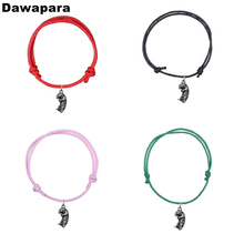Dawapara  Cute Sea Otter Alloy Pendant Fashion Bracelet Handmade Korean Wax Cord Adjustable Trendy Chain Charm Jewelry For Gift