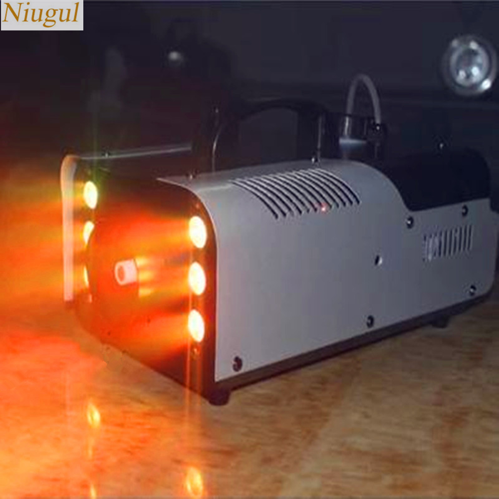 LED 1500W Fog Machine/Smoke Machine With 6x9W RGB LED Light/Professional Stage Machine DJ/Bar/Disco Home Party LED  Stage Fogger