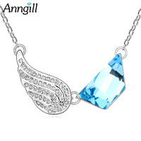ANNGILL Austria Crystals From Swarovski Czech Rhinestone Pendant Charm Necklace Elegant Angel Wings Wholesale Dropshipping