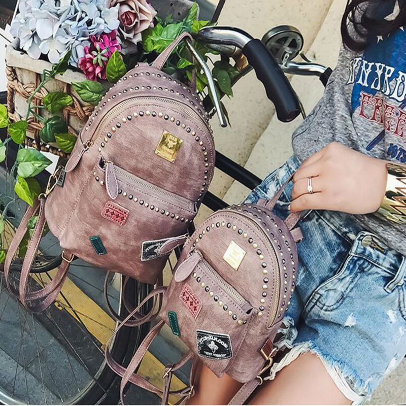 New Collection Fashionable Korean Style Mini Women Backpack Stylish All match Rivet Backpack Euramerican individual Backpack