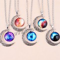 New 2015 Fashion Galaxy Planet Moon Necklaces & Pendants Vintage Jewelry Silver Statement Chain Necklace for Women High quality