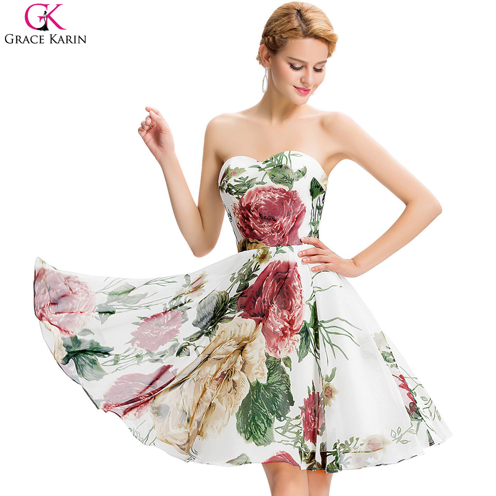Chiffon Floral Print Cocktail Dress
