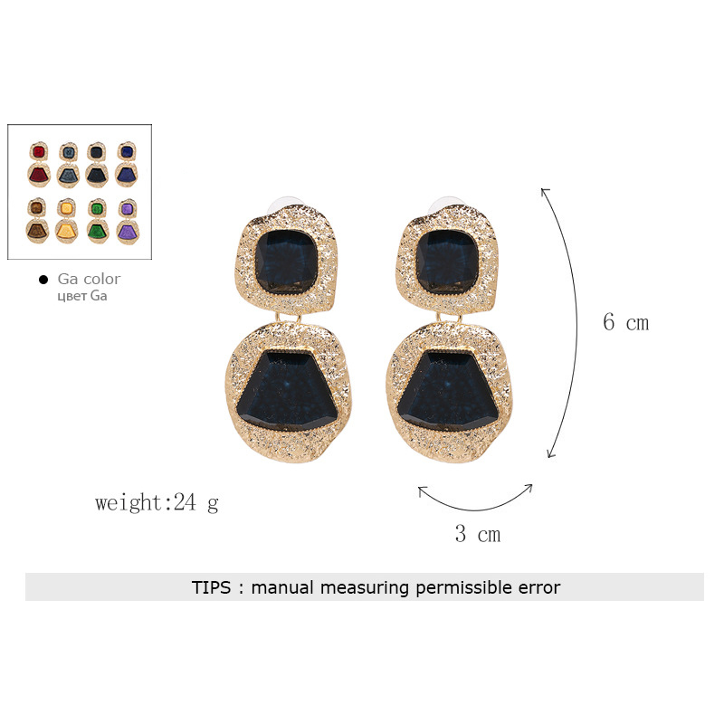 Punk Style Metal Stone Drop Earring Women Fashion Gold Color Pendant Pendientes Green Red Black Purple Brown Earrings Jewelry in Drop Earrings from Jewelry Accessories