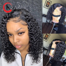 KUNGANG 180% Density Curly Lace Front Human Hair Wigs 13*6 Brazilian Remy Hair Glueless Wig Bleached Knots Pre Plucked For Women(China)