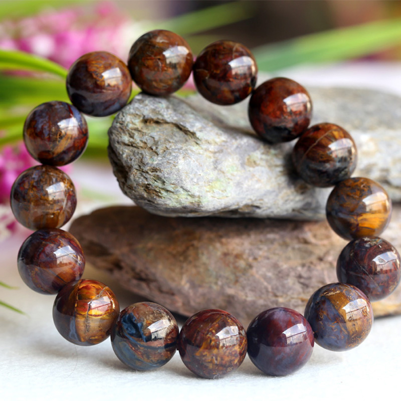 Natural Genuine Brown Gold Pietersite Stretch Men's Stretch Finish Bracelet Round Big beads 14mm 04114 недорого