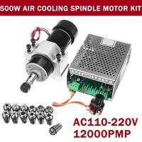 110V 220V CNC 500W Air Cooling Spindle Motor Engraving Machine Router 52mm Clamps Speed Governor ER11