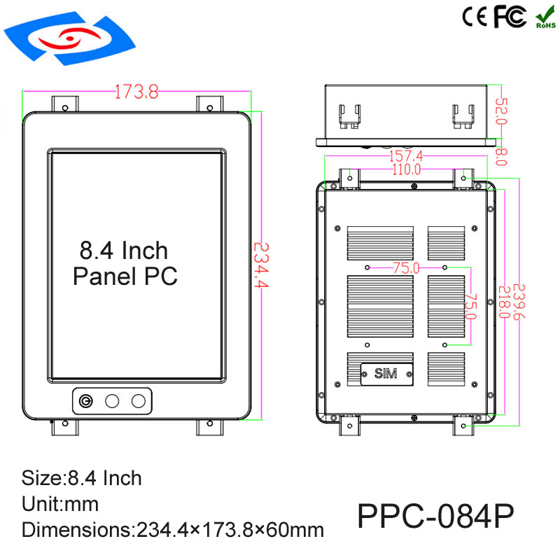 Image 5 - Low Cost 8.4 Inch Touch Screen Industrial Tablet PC IP65 Fanless Design With 800x600 Resolution 3xUSB2.0 For Factory Automation-in Mini PC from Computer & Office