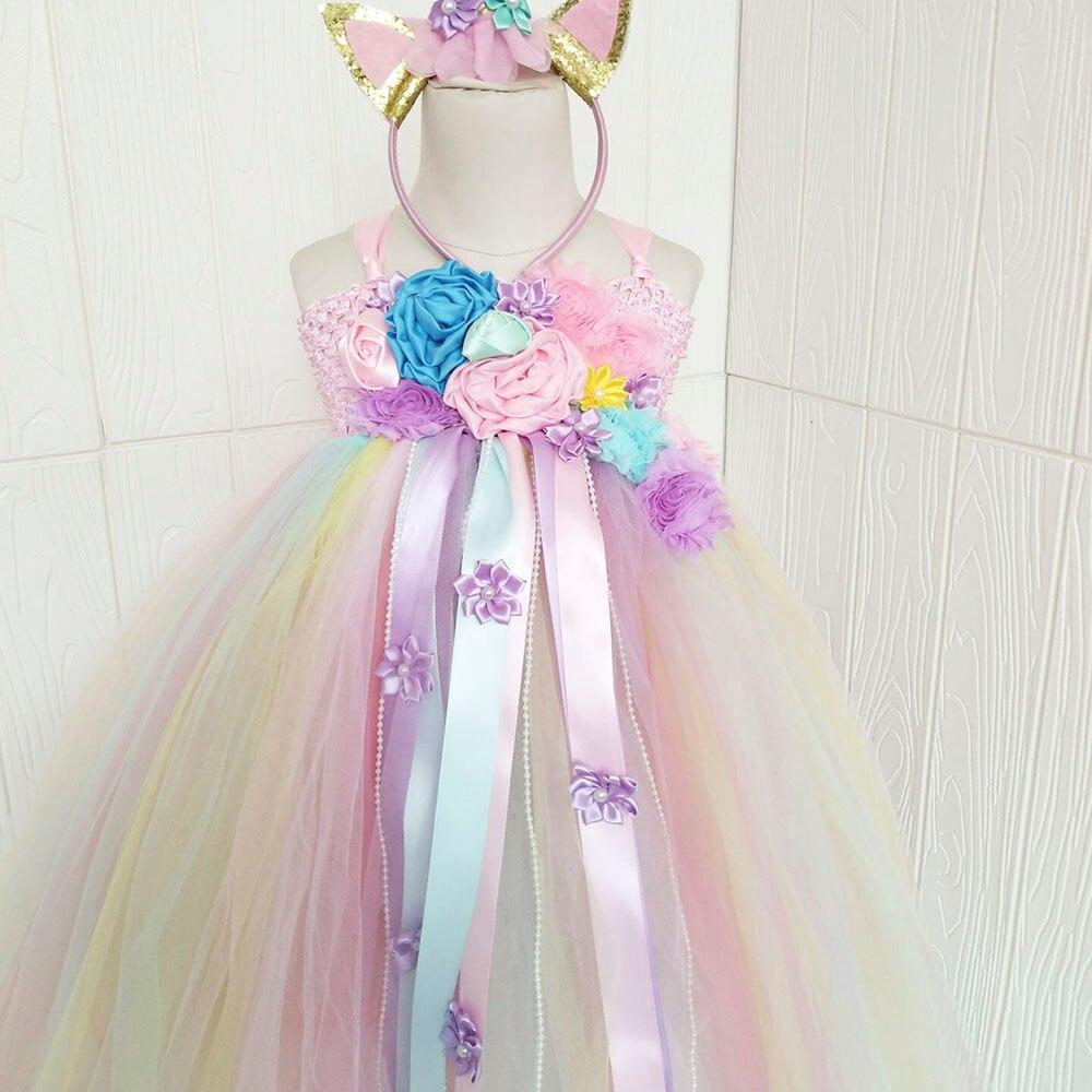 Girl Dresses Kids Long Unicorn Costume for Girls Ankle Length Sleeveless Flower Unicorn Party Dress Tutu Little Pony Ball Gown (13)