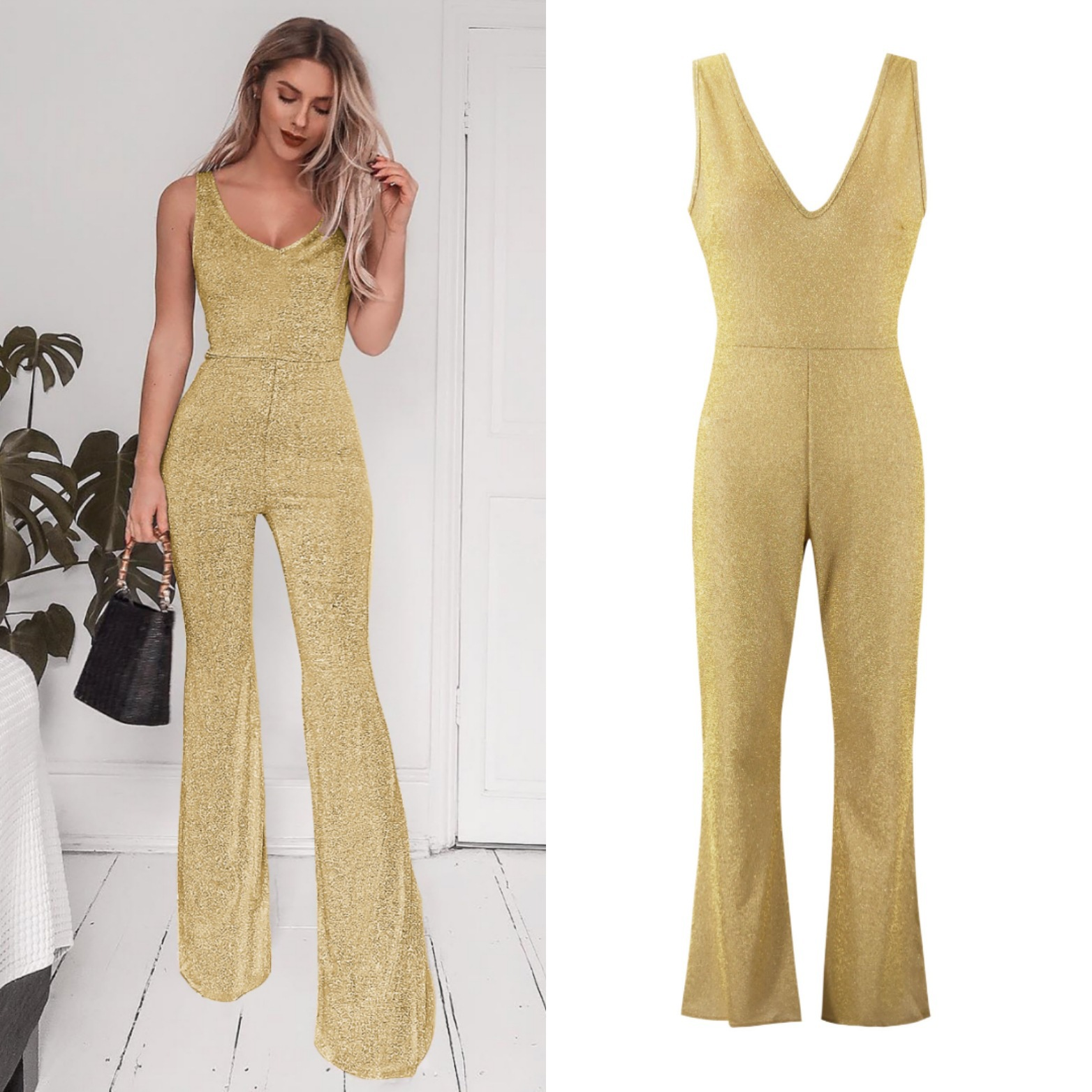 Summer Jumpsuits Casual Jumpsuits Solid V Neck Roupas Femininas Gold Black Overalls Mono Mujer Largo Elegante Women Clothes 2019