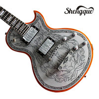 Top Quality Custom NEW Silver Carved Top LP Guitar Alden Metal Flower Aluminum Top Electric Guitar