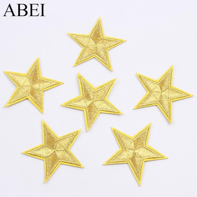 10 pçs/lote Bordado Estrela de Ouro Remendo Ferro Em Casacos Calças de Brim Adesivos Sacos De Costura Sapatos Calças Camisas Apliques Patches de Crachá DIY