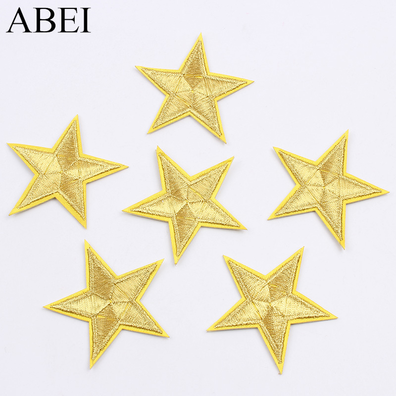 10pcs Gold Stars Embroidered Sew Iron on Star Patch Applique DIY Accessories