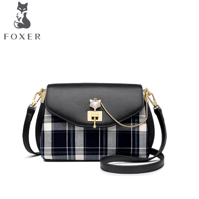 FOXER brand bag Vintage checkered handbag 2018 new fashion shoulder bag tide simple Messenger bag foxer shoulder