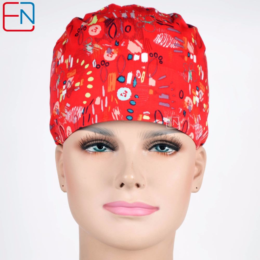 Women Surgical Scrub Caps New 100% Cotton Scrub Caps For Women Hospital Medical Hats Print Tieback Elastic Section Surgical Caps