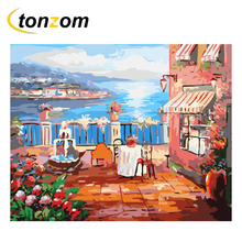 RIHE Seascape By Numbers DIY Open Balcony With Dinner Painting Handwork On Canvas Oil Art Coloring Home Decor 2018