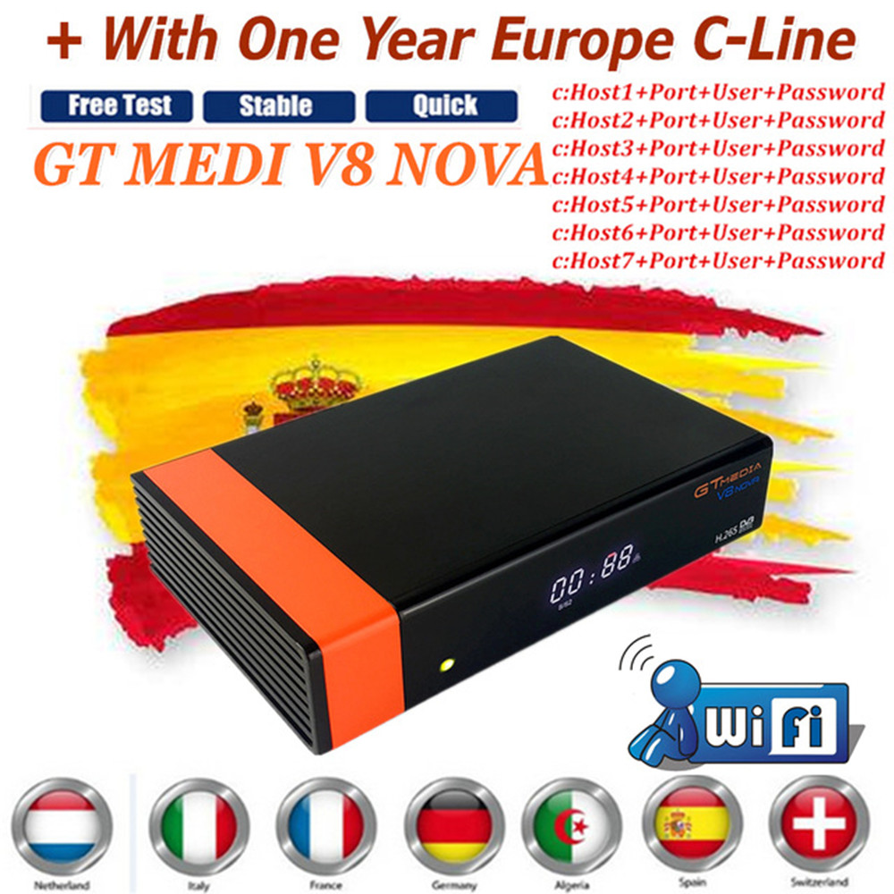 1 Year Europe Cline Genuine Freesat GTMedia V8 Nova Full HD DVB-S2 Satellite Receiver Same V9 Super Upgrade From V8 Super Deco