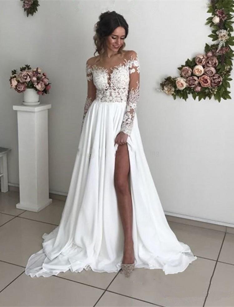 2019 Boho robes de mariée manches longues col transparent Appliques en mousseline de soie côté Split robes de mariée Sexy plage bohème robes de mariée