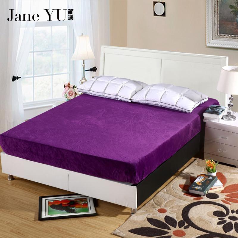 JaneYU maison Textile flanelle housse de matelas couleur Pure lit matelas protecteurs drap housse élastique