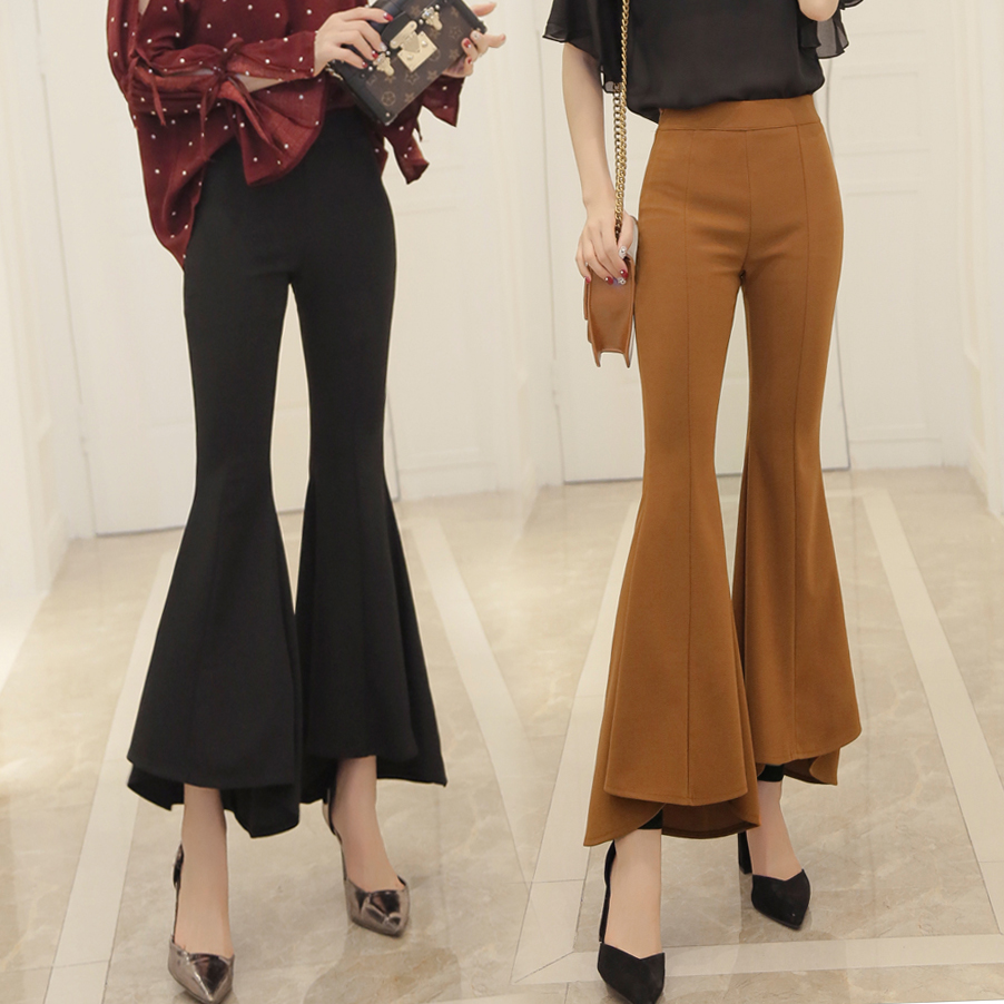 Spring and summer Women new high waist retro flared   pants   female Ankle-Length   Pants   Slim thin casual trousers   Wide     Leg     Pants