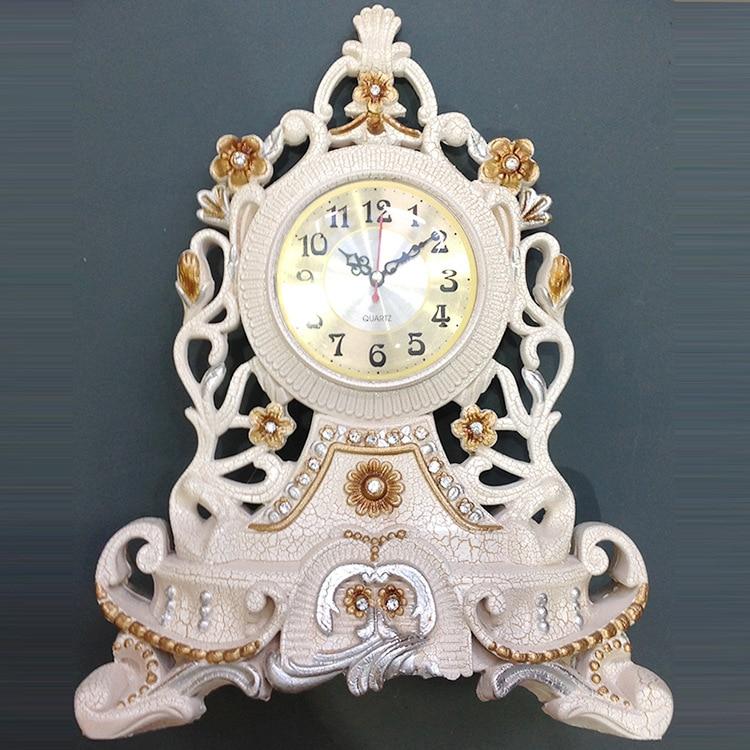 TUDA Frete Grátis 12 inch Grande Relógio de Mesa Relógio Decoração De Mesa de Luxo em Estilo Europeu Exquisited Elegante Relógio de Mesa de Resina Esculpida