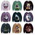 Тенденция высокого качества мальчик бейсбол одежда 3D животных печати хип-хоп одежда хеджирования бархат свитер 11-20 лет