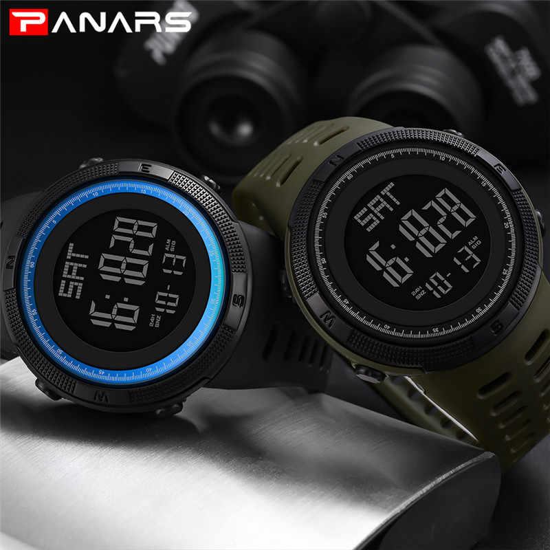 ספורט אלקטרוני שעונים גברים ספירה לאחור כפול זמן דיגיטלי שעון מעורר כרונו שעוני יד 50 M עמיד למים חיצוני ריצה שעון