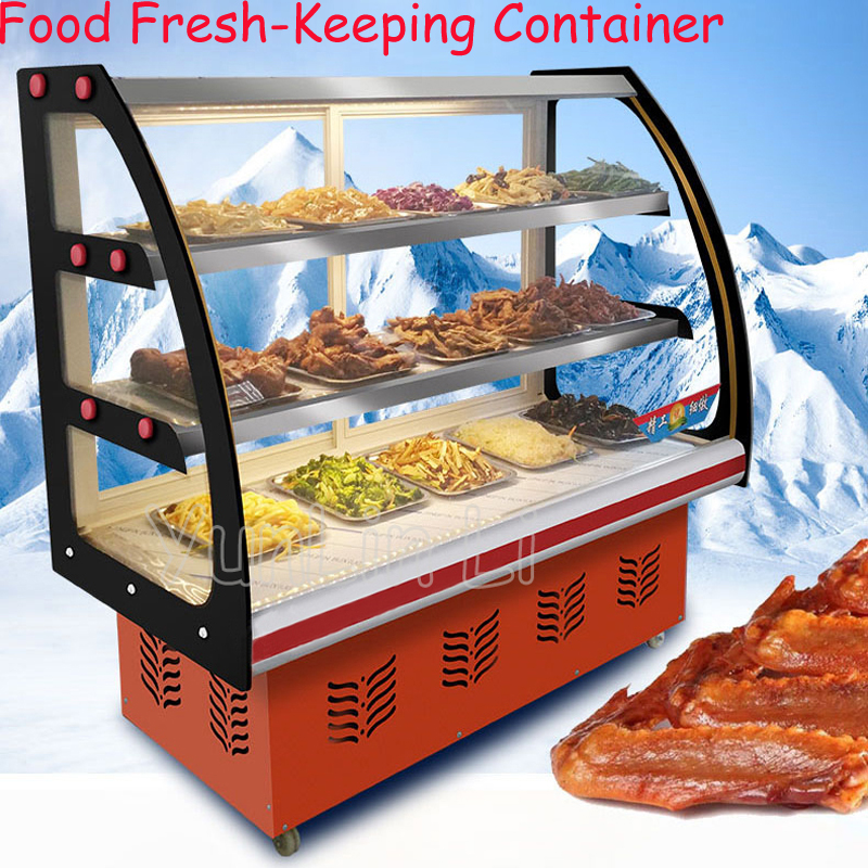 все цены на Food Fresh-Keeping Container Commercial Horizontal Type Cooked Food Cold Dishes Showcase With Three Layer xb-002
