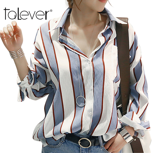 2016 Autumn Female Fashion Shirts Striped Casual V-Neck  Women Blouse One Size Autumn Loose Women Tops cheap-clothes-china
