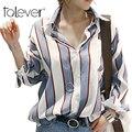 2016 Outono Moda Feminina Camisas Casual Listrado Com Decote Em V Blusa Mulheres Tamanho Outono Loose Women Tops barato-roupas-china