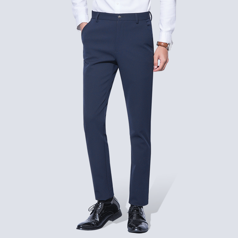 Men's Wrinkle Free Casual Stretch Solid Trouser Pant Flat Front Slim Straight Fit Summer Thin Dark Blue Business Dress Pants