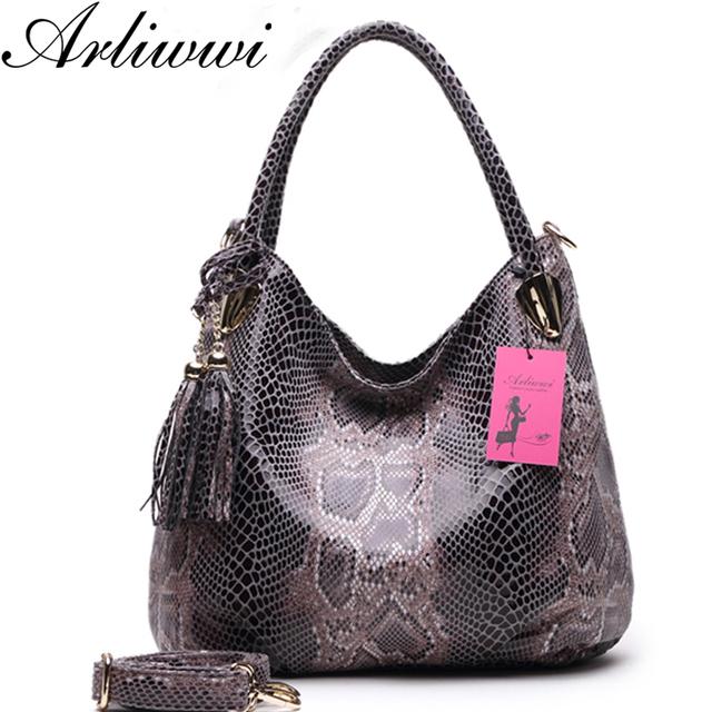 Arliwwi Brand Individual Fashion Snake Designer Big Capacity Lady Bags New Tassel Embossed PU Leather Cross Body Handbags Women