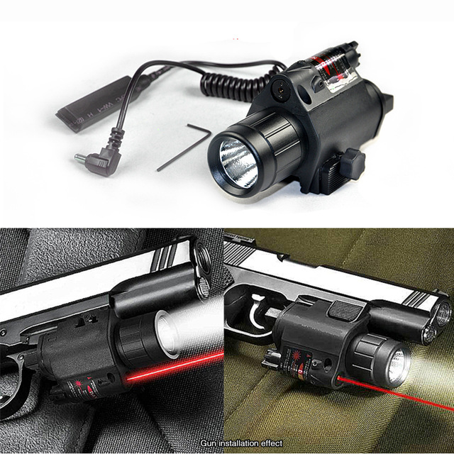 200Lumens 2in1 M6 Tactical Hunting CREE LED Flashlight Torch LIGHT + Red Laser Sight Combo for Shotgun Glock 17 19 22 20 23 31