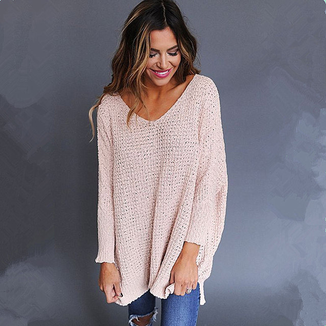 BJHOW Women Sweaters Pullover V Neck Knitting Sweater 2018 Autumn Causal  Knitted Bodycon Top Long Sleeves