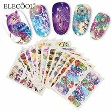 ELECOOL NEW 12 Pcs/1 Set Owl Bells DIY Full Stamp Nails Stickers Decals for Salon Home Cute Cartoon Nail Art DIY Tool