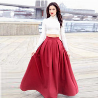 Modest Burgundy Pleated Satin Women Formal Party Skirt Custom Made High Quality Long Skirts for Evening Prom Lady Any Size Free