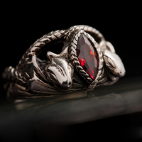 4 Size LOTR Jewelry Aragorn's Ring in Red Stone 925 Silver Animal Snake Style Ring For Men Man Cosplay Gift Ring