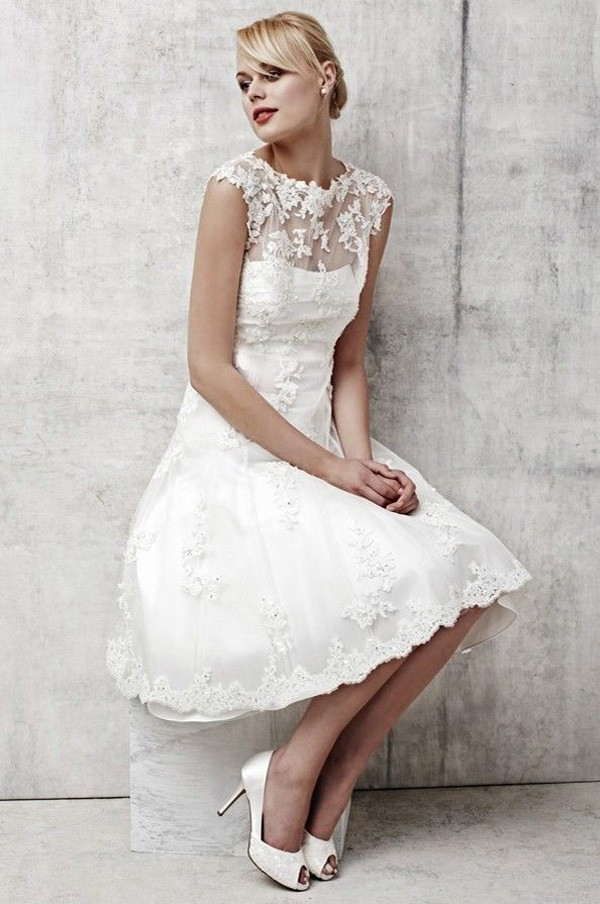 Lace Cap Sleeve Short Wedding Dress - Wedding Dress Ideas