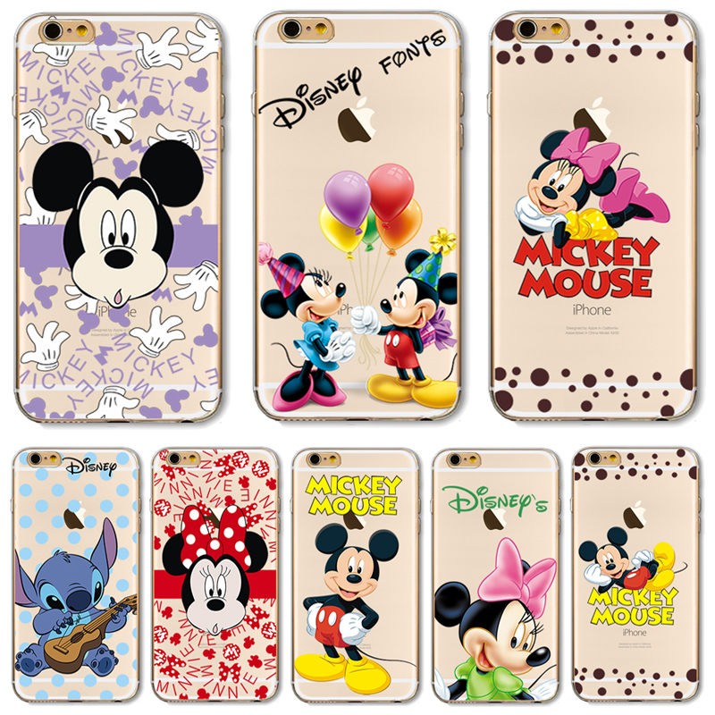 TPU Cover For Apple iPhone 5 5S SE 5C 6 6S 6Plus 6S+ Cases New Fashion Cute Mouse Teddy Bear Pattern Design Transparent
