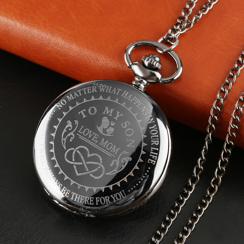 Popular Customized TO MY SON Never Forget I Love You Forever Design Quartz Pocket Watch TIEDAN Brand Watch Souvenir Gift For Men