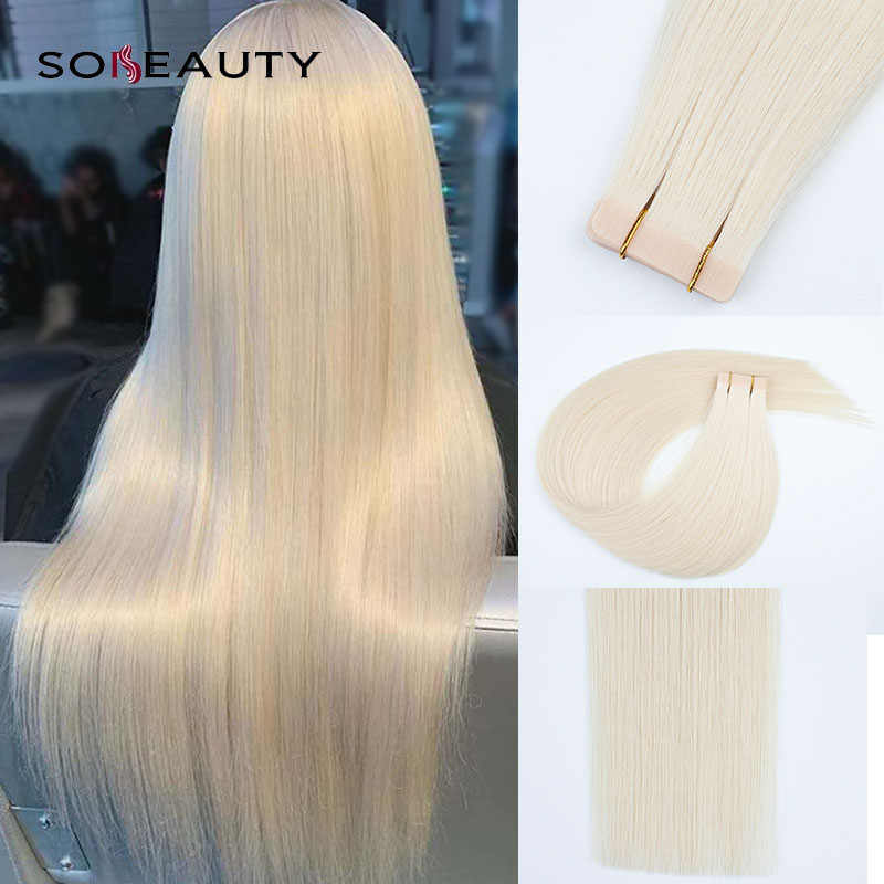 Sobeauty 20PCS 14''18''20''  100% Real Remy Tape In Human Hair Extensions Straight On Adhesive Invisible PU hair Extension